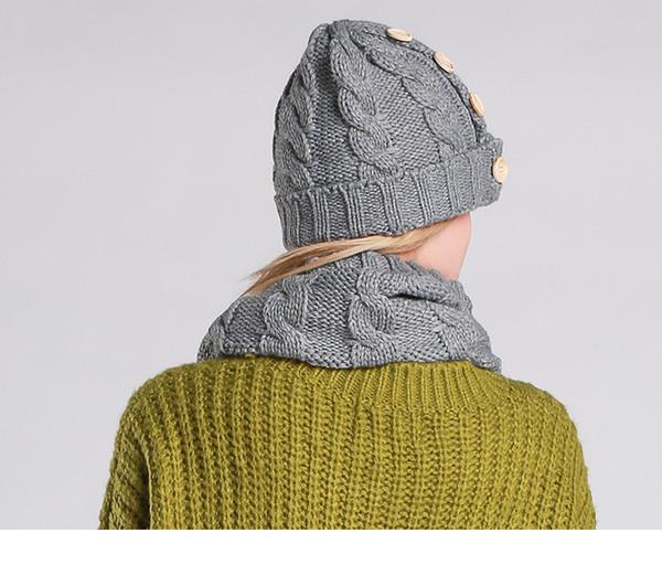 Compre Civichic Mujer Elegante Tejido Sombrero Cuello Bufanda Con ...