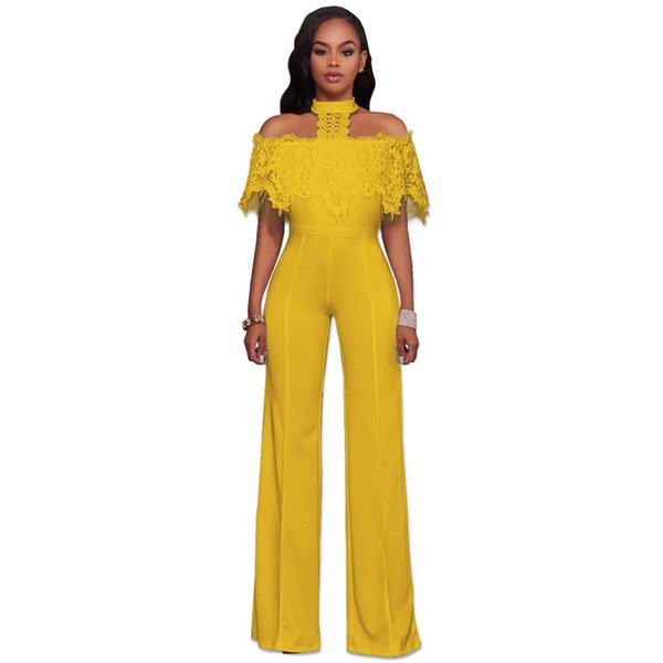 Short Sleeve Off Shoulder Backless Long Pant Jumpsuit Choker Halter Neck Lace Ruffles Wide Leg Rompers Women Outfits Overall 2XL