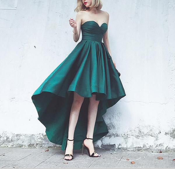 Elegant A-Line Sleeveless High Low Prom Dress Long Plus Size Custom Made Arabian Green Satin Evening Gowns Party Dress for Women