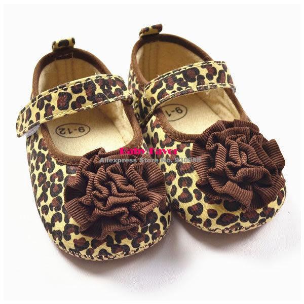 2018Fashion Design 1 Pair Cute Crib Shoes PreWalkers First Walker Brown Leopard Flower For Baby Girl Kids