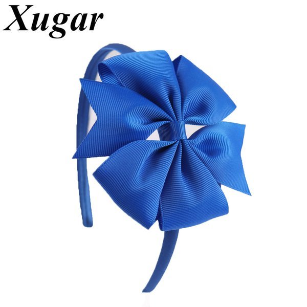 2 Pieces/Lot 4'' Solid Ribbon Pinwheel Bowknot Headbands for Kids Girls Handmade Hairband Candy Colors Hair Accessories