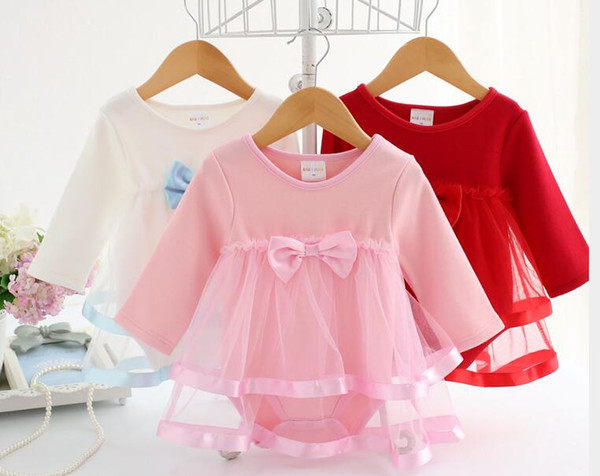 Autumn Full sleeve Baby thick Dress Summer Cotton Bow Rompers For girls Kids Infant Clothes Baby Jumpsuit 3 colors