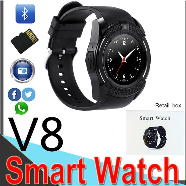 Bluetooth Watches Smart Watch V8 For Android Cell phone Music Player Support SIM TF Card Camera with Retail Box DZ09 V88