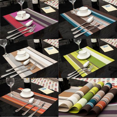 Wholesale- NEW 6pcs Fashion Home Decro PVC Insulation Kitchen Placemats Striped Place Pad Dining Table Mats