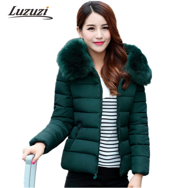 Wholesale- 2017 Women Winter Parkas Cotton Padded Coat Hooded with Fur Female Warm Jackets Middle-aged Mother Clothing Overcoat Top WS553
