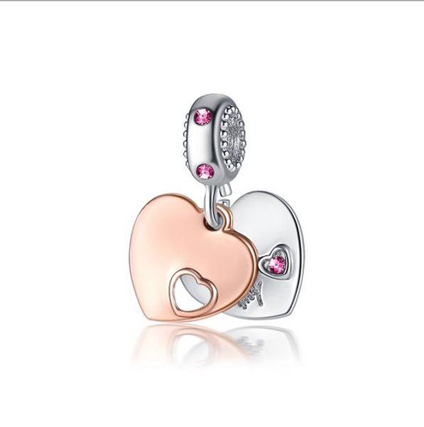 Navio livre 30 pc Rose Gold Silve Coração Grande Buraco Encantos Spacer Beads fit pulseira pandora DIY Jóias Colares Pingentes encantos Contas Mulheres