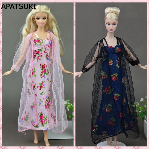 2pcs/set Sexy Pajamas Lace Costumes Lingerie Sleepwear Clothes For Dolls Long Dresses Doll Accessories