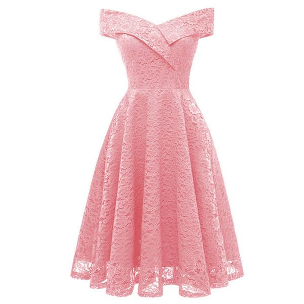 Femme Embroidery Vintage Lace Dress Women Off Shoulder Dresses short Sleeve Casual Evening Party A Line Plus size Dress