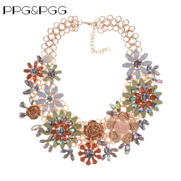 PPG&PGG Fashion Statement Flower Women Crystal Vintage Chunky Chain Collar Choker Necklace Big Heavy Multicolor Jewelry Necklace
