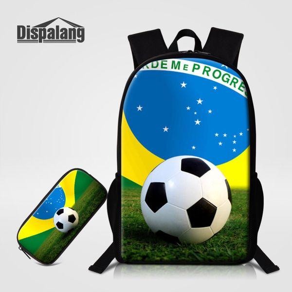 Cool Footballs School Bag Pencilbox 2 PCS Set For Primary Students Basketballs Soccers Boys Backpack Children Bookbags Pen Pouch