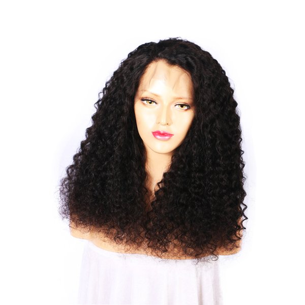 Fast shipping in stock glueless unprocessed virgin remy human hair long natural color afro curly full front lace wig for black women