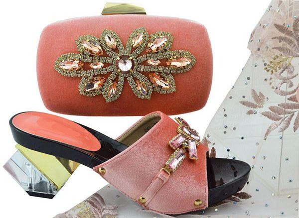 Beautiful peach women pumps with big crystal flower design bag for dress african shoes match handbag set QSL006