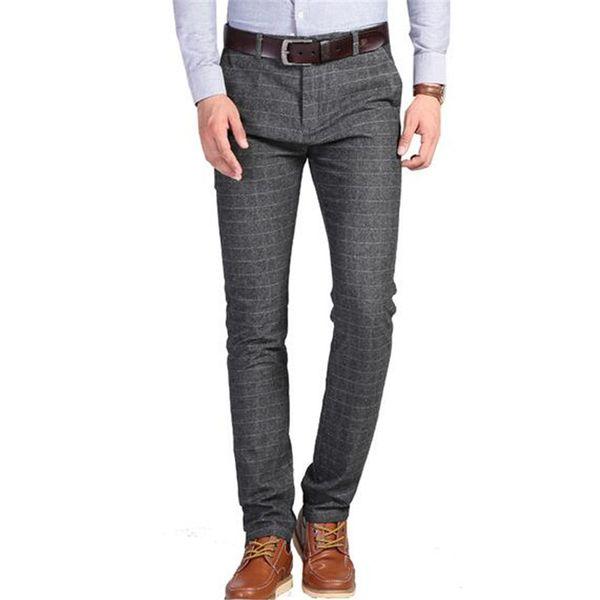 Pantalon décontracté pour hommes, pantalon à carreaux stretch 2018 nouveau style hommes vêtements pantalon gris noir plus 29-38 pouces