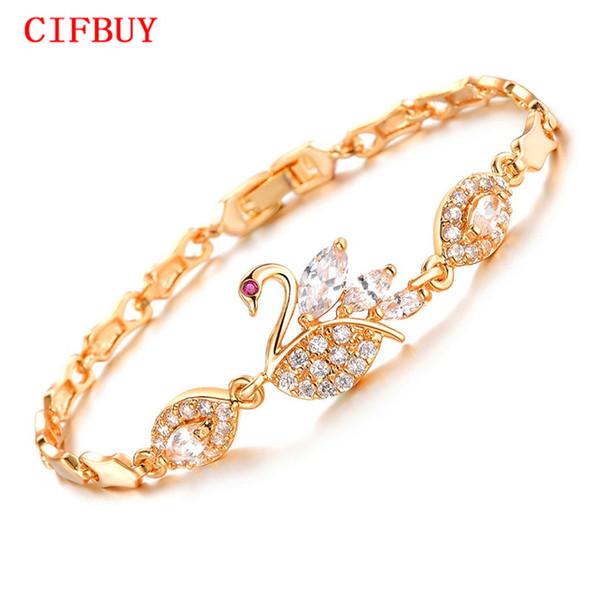 Cifbuy старинные Лебедь дизайн цепи женщина браслеты мода Золотой цвет цирконий свадебные украшения DM440