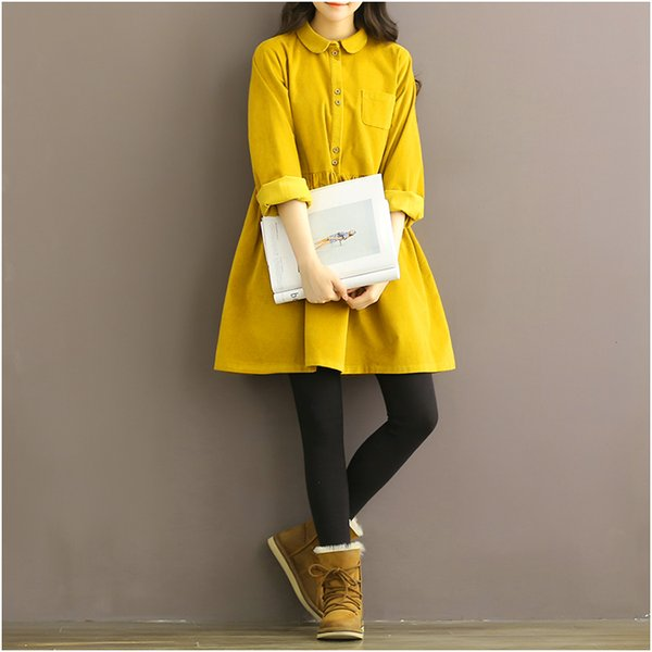 Japan Style Vintage Dress New Autumn Winter Women Long Sleeve Doll Collar Loose Corduroy Dresses