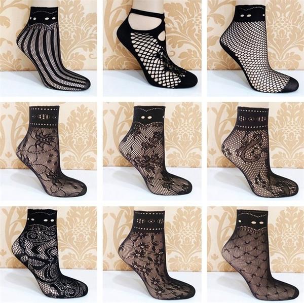 eff7dea58c1eb Wholesale- Fashion New Lady Girl Lace Hollow Ventilation Socks Net Socks  Short Socks For Woman