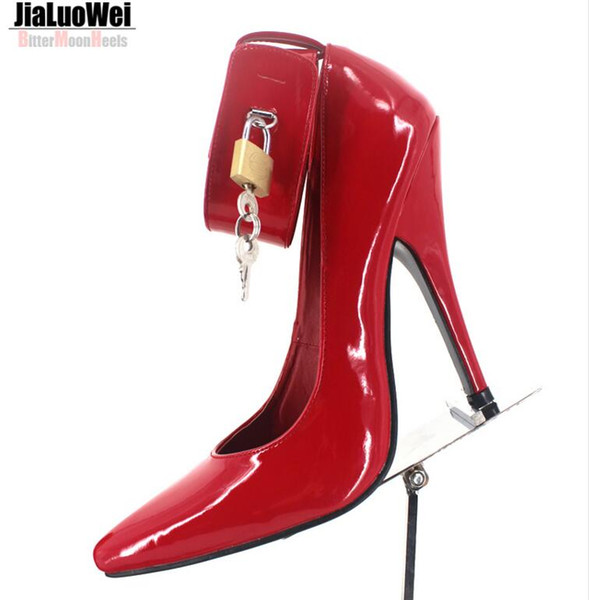 Free Shipping 2018 BDSM Sexy Fetish High-Heel Pumps Lock And Key High Heels Pointed Toe Ankle Strap Padlocks Black Single Shoes Big size