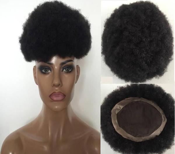 Großhandel Afro Toupee Meistverkaufte Schwarzes Haar Mongolisches Jungfrau Menschenhaar Kurzes Haar Afro Verworrene Locken Toupee Für Schwarze Männer