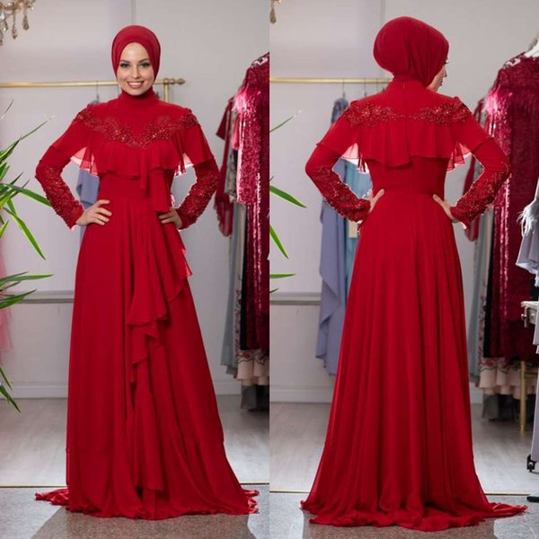 Red Muslim Prom Dresses 2019 Lone Sleeve Ruffles Lace Appliques Beads Chiffon Evening Gowns With Wraps Custom Made Formal Dresses