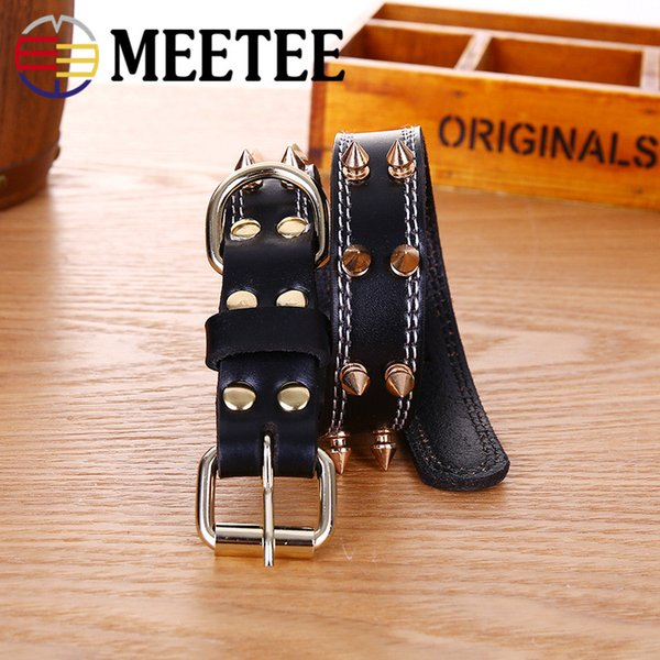 MEETEE 2018 NEW Pet collar supplies cowhide rivets biting dog collars Pet products Black coffee DC-065