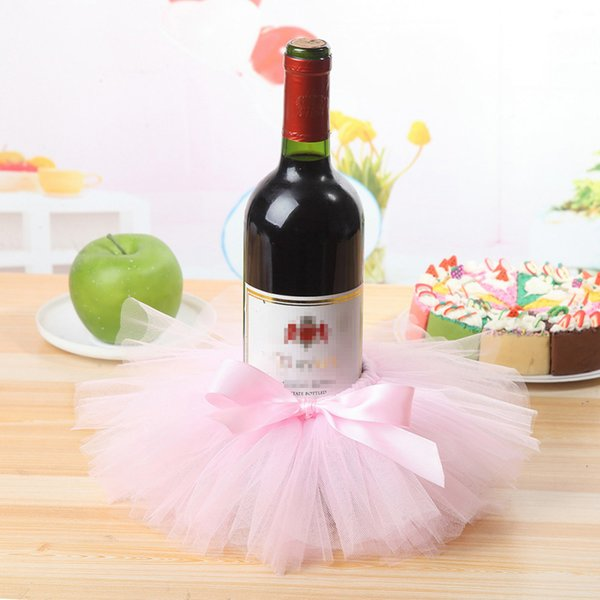 Couverture de bouteille de vin rouge tulle jupe de bouteille de vin avec des bords de paillettes d'or pour la fête de mariage Baby Shower Noël décorations de gâteau d'anniversaire