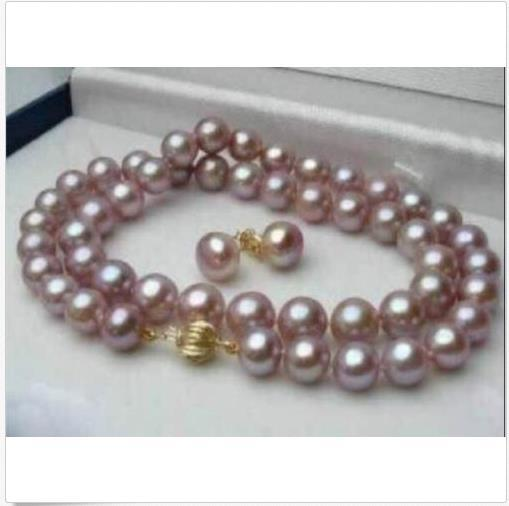 10-9mm Real Natural Purple Akoya Pearl Necklace Earring Jewelry Set 18inch