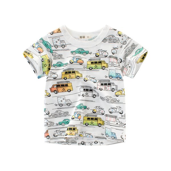 New arrival 2018 Boys t shirts Cartoon Car Pattern Baby Clothes Casual Short Sleeved tshirt cotton Printed Kids Boys Summer Clothing