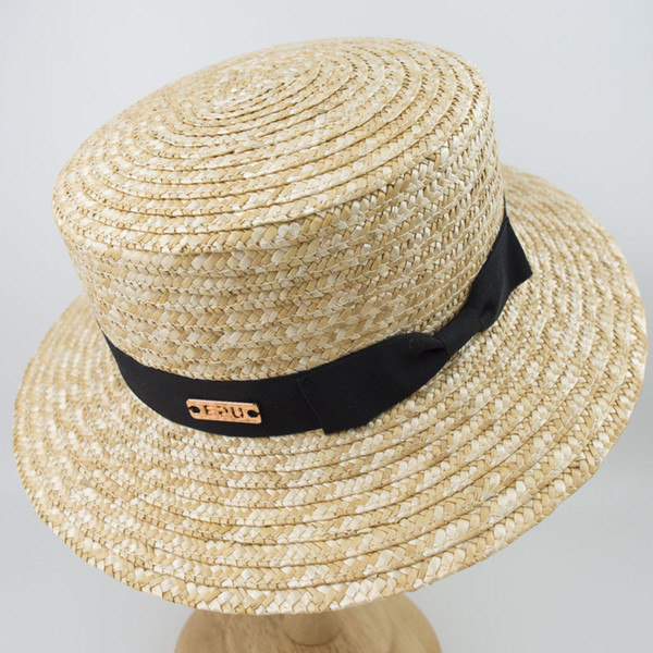 EPU-MH1838 2018 Wheat Straw Boater Hat Summer Holiday Hat for man woman Unisex Fashion Vintage Shape Sun Protection