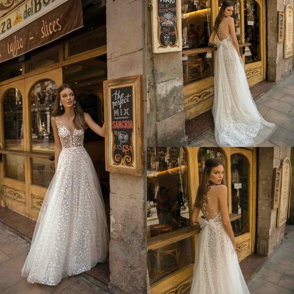 2019 Berta A Line Wedding Gowns Deep V Neck Lace 3D Floral Appliques Sweep Train Beach Wedding Dress Bow Plus Size Bridal Dresses