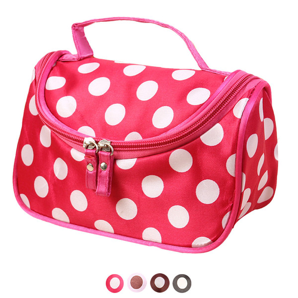 Polka Dot Flip Double Zipper Cosmetic Bag travel makeup bag maleta de maquiagem organizer toiletry