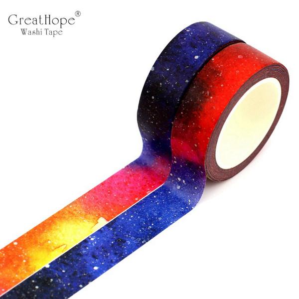 15mm x 10 m / pc Criativo Sonho Céu Estrelado Universo Washi Tape Planet Decor Fita Adesiva para Scrapbooking Escola Papelaria Papelaria 2016