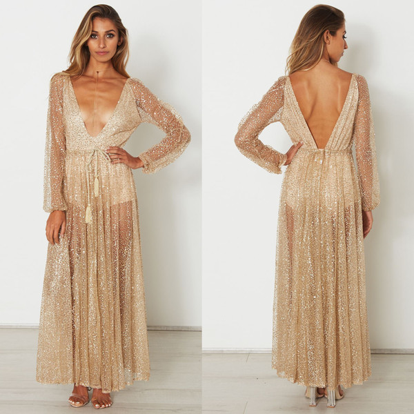 Lady Evening Party Long Dress With Rhinestone Gold Maxi Dress Long Sleeves Mesh Sexy Deep V-neck Clothing