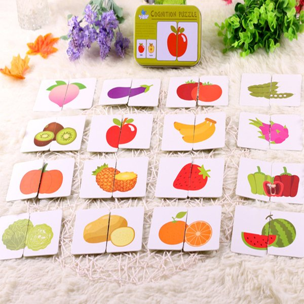 Kids Educative Word Cards Pocket Flash Card Fun English Baby Learning Educational English Table Game Puzzle Match Jigsaw
