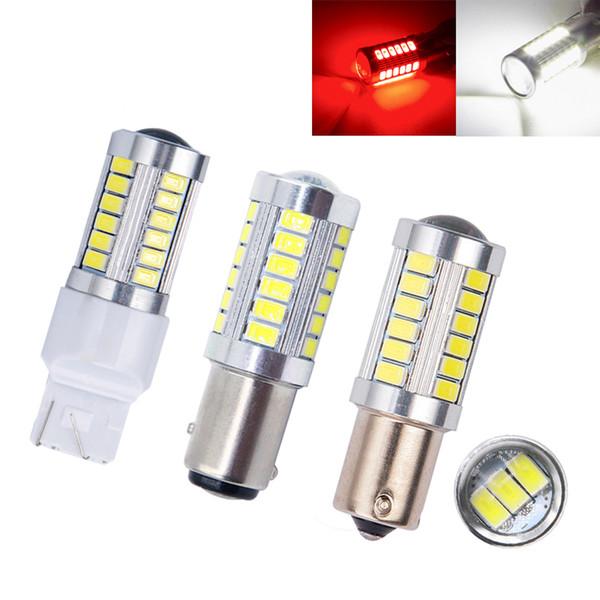 2pcs Strobe Flash T20 LED P21/5W BAY15D 1157 7443 5630 33SMD Car brake Bulb red blink led Tail Stop Light 12v