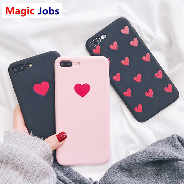 Magic_Jobs Retro Red Love Heart Phone Case For iphone X Case For iphone 6 6S 7 8 Plus Fashion Soft TPU Silicone Cases Ultra Slim Cover