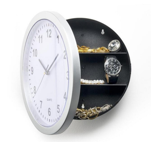 best selling 1 piece 25 cm round Hidden Secret Wall Clock Safe Money Stash Jewellery Stuff Container Colck decroation Quartz clock