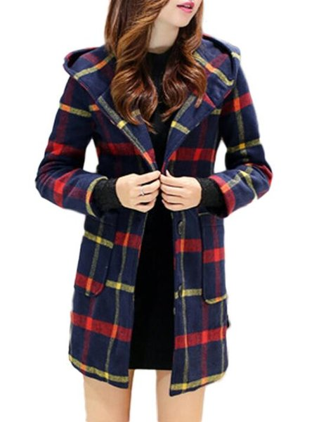 New Autumn Winter Coat Women Classic Wool Blends Plaid Hooded Coat Female Outerwear Windbreaker Trench Coats