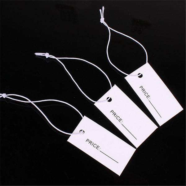 1000 unids 1.7 * 3.3 cm Un lado Impreso Blanco Papel Etiquetas de Precio con Cadena elástica Cuelgue Etiquetas de Precio Etiqueta para La Joyería