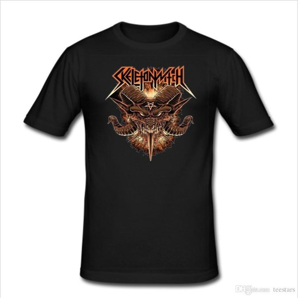 2018 Short Sleeve Cotton T Shirts Man Clothing Men's Slim Fit T Shirt Sizes S To 3XL Skeletonwitch Metal Band<100% Cotton