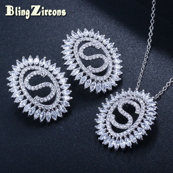 BlingZircons Newest 925 Sterling Silver Post Stud Earrings Pendant Necklace 2 PCS CZ Crystal Ladies Jewelry Set For Gift JS132