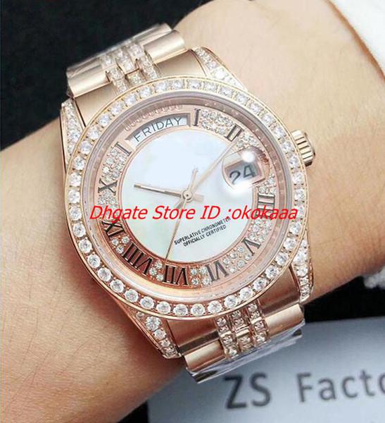 Nuevo 5 Estilo Mejor Edición Reloj ZS Factory 38mm Day-Date Full Diamond Bisel Pulsera 18k Oro Swiss 2813 Movimiento automático Mens Relojes t1
