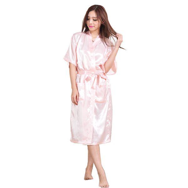 Seda de las mujeres de satén de novia largo de la boda de dama de honor túnica Kimono noche robo albornoz moda bata de vestir S1015