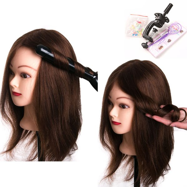 100% Real Human Hair 46cm Training Head can be curled head Hairdressing Mannequin Dolls with small clamp