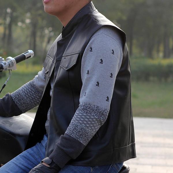 Erkek Motosiklet Hakiki Deri Yelek Inek Deri Biker Rider Kulübü Tek Göğüslü Yelekler Kolsuz Ceket Siyah El Yapımı