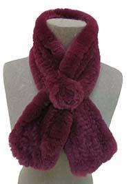 Women's Real Rex Rabbit Fur Knitted Scarf with one Flower Lady's Neckerchief Winter Warm Soft 9 Colors