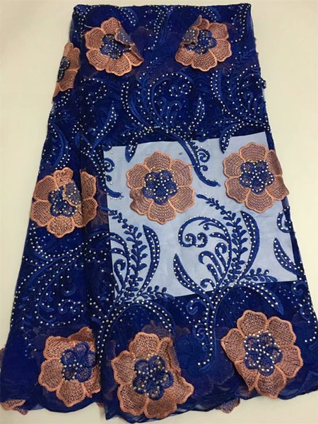 royal blue mesh french cord lace fabric embroidered tulle lace trim 2018 african negrian lace fabric high quality 5yard/lotEL54
