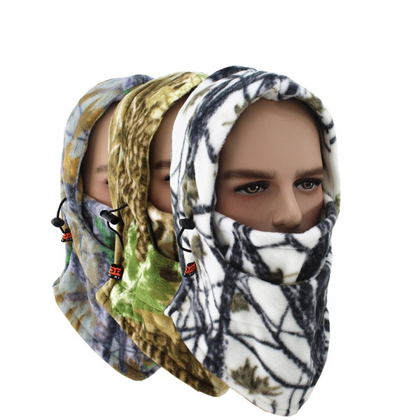 winter warm bike riding camo face masks Tactical hood scarf outdoor sports mask bicycle cycling balaclava fleece hat snowboarding beanie