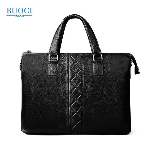 RUOCI Men's Bags Business Briefcase Computer Mens Briefcase Genuine Leather Shoulder Bags Laptop Bag Leather Handbags Zipper
