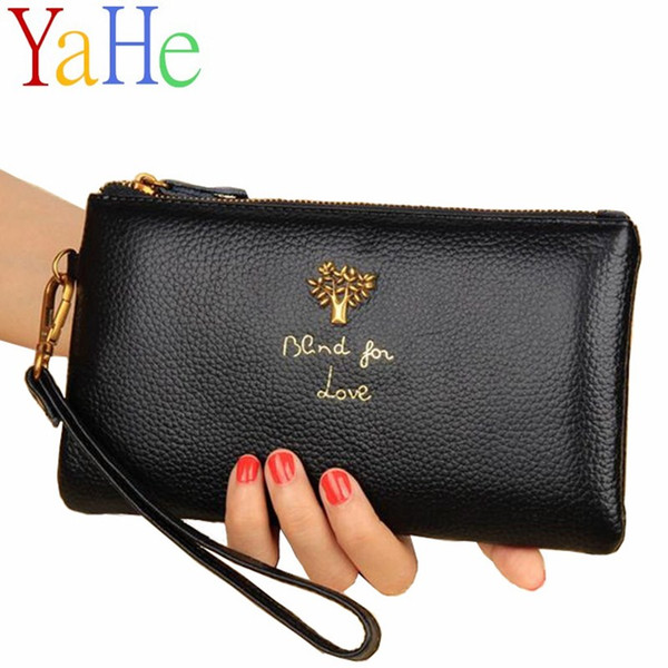 YaHe Brand Luxury Long Wallets Women Genuine Leahter Purses Female Casual Black Zipper Phone Coin Bags Thin Pouch for Lady Girls