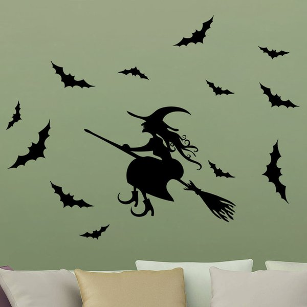 Creative Happy Halloween Witch Silhouette DIY Art Bats Wall Sticker Window Living Room Home Decoration Vinyl Decal Removable Fashion Gifts
